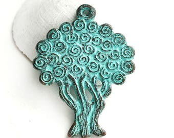 Tree of Life pendant bead, Green Patina, Copper metal tree pendant, Greek casting beads, Lead Free - 1pc - F605