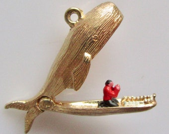 Gold and Enamel Jonah and The Whale Opening Charm Or Pendant