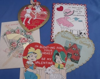 Vintage Valentines 1920s – 1940s estate lot of 5 USA tennis