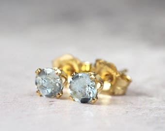 Blue Aquamarine Earrings - March Birthstone - Pale Blue Earrings - Aquamarine Stud Earrings - Gold Earrings - Earrings For Mom - LAST PAIR