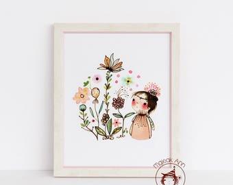 Mes Fleurs - Girl and Garden - Girl and Flowers - Nursery Decor - whimsical nursery wall art - baby decor - whimsical baby girl art