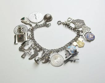 Vintage Sterling Silver Loaded 18 Charms Charm Bracelet 1960's Fine Jewelry Gift For Her Best Deal