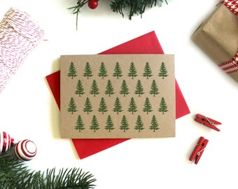 Christmas Card Set - (Set of 5) Christmas Cards, Christmas Card Pack, Holiday Card, Kraft Card, Xmas Card, Holiday Greeting Card, Stationery