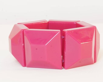 PINK BRACELET - VINTAGE pink beaded bracelet - chunky beaded pink bracelet - big pink beaded bracelet