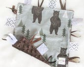 Forest Bear - Brown Green Gray Baby Boy Toy + tag lovey sensory security blanket minky woodland bears modern personalized embroidered trees