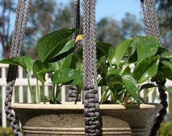 RINGMASTER - Dark Gray Grey Handmade Macrame Plant Hanger with Wood Beads - 6mm Braided Poly Cord in SMOKE