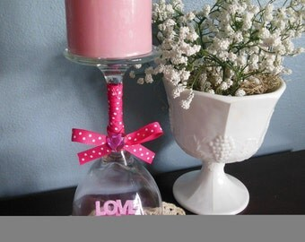 Wine Glass Valentines Day Candle Holder / Candle Holder/ Valentines Day Gift/ Valentines Day / Table Centerpiece
