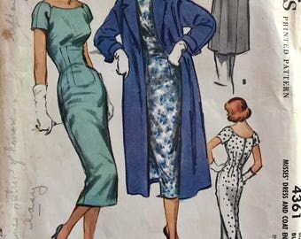 "Vintage 1957 McCall's Misses' Wiggle Dress and Coat Pattern 4361 Size 14 (34"" Bust)"