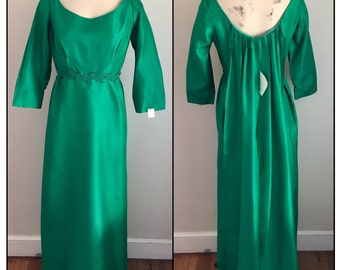 Vintage 1960s 70s Date Maker Formals New Old Stock Green Formal Prom Dress Train 0 2