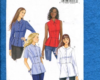 Butterick 6097 Fitted Princess Seam Shirts with Peplums Size 6 to 14 UNCUT
