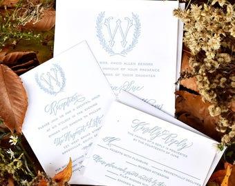 Calligraphy Letterpress Wreath Monogram Wedding Invitation