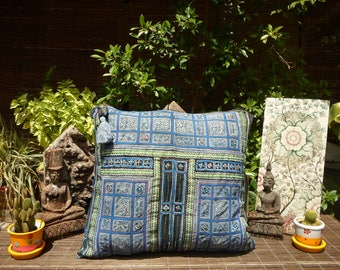 Vintage Indigo Batik Textile Cushion Cover, Vintage Batik Cushion Cover, Tribal Pillow, Indigo Dyed Fabric