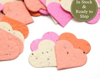 Bliss Blend Plantable Seed Paper Confetti Hearts - READY-TO-SHIP, Wedding Favors, Bridal Shower Favors, Baby Shower Favors, Valentines Day