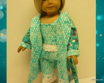 Sweet Dreams Flannel Robe and Pajamas - Fits American Girl Dolls