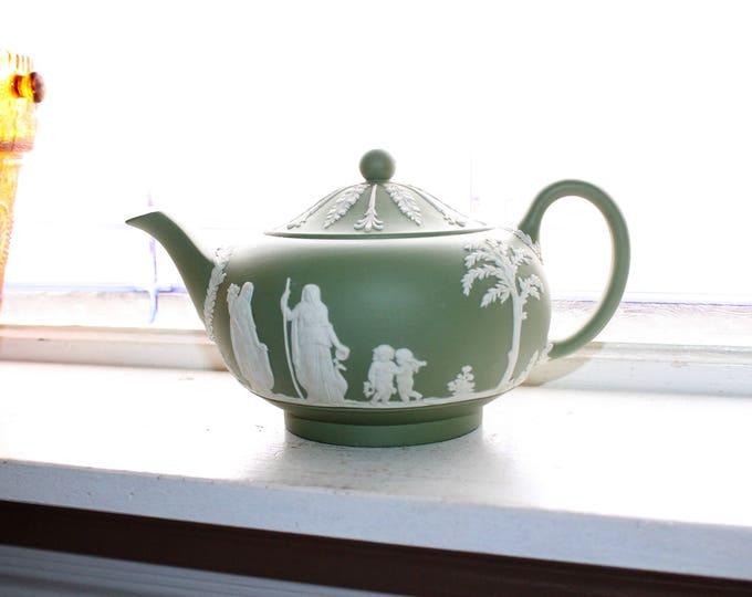 Vintage Wedgwood Teapot Green Celadon Jasperware 1960s