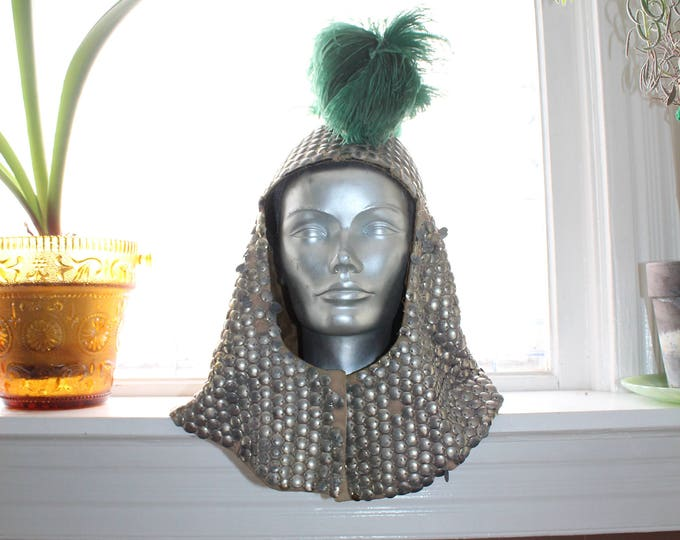 Antique Masonic Knights Templar Hat Helmet Chain Mail Style