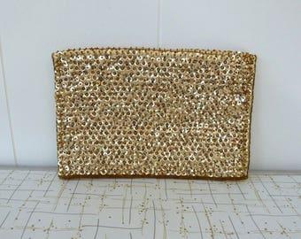 50's Gold Sequin Clutch Purse Lingerie Bag Beaded Shimmering Satin Glove Handbag