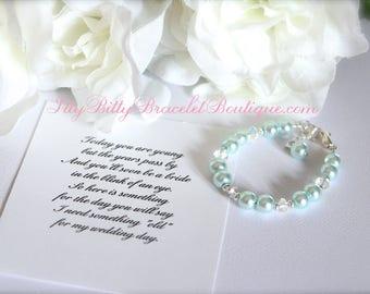 Something Blue BABY GIRL Keepsake Bracelet, New Baby Gift, 1st Pearls, Birthday, Baby Gift Baby Blue Pearl Bracelet