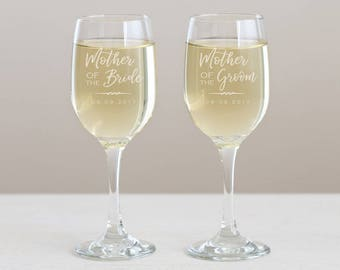 Engraved Mother of the Bride or Mother of the Groom Wine Glass: Personalized Mother of the Bride Gift, Mother of the Groom Gift, SHIPS FAST
