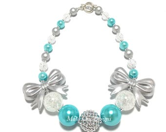 Toddler or Girls Turquoise, White and Silver Bow Chunky Necklace - Girls Double Bow Chunky Necklace - Silver Bow Necklace - Ice Princess