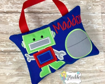 Robot Tooth Fairy Pillow, Boy Tooth Fairy Pillow, Tooth Pillow Boy, Birthday Gift, Personalized Pillow, Boys Tooth Pillow, Tooth Fairy