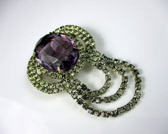 Gorgeous Multi-Faceted Light Amethyst Stone & Clear Rhinestones Brooch Pin
