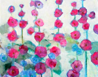 "Large Abstract Floral Painting on Canvas, Colorful, Cheerful Loose Flowers ""Hollyhock Garden"" 30x30"""