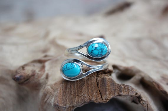 925 Sterling Silver Turquoise Ring- ADJUSTABLE -Statement Ring- Sterling Silver Ring- Healing Crystal- Crystal Jewellery- Navajo- Gift