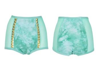 Gold Stud Mesh High Waisted Panties