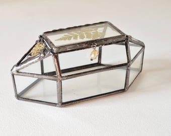 Glass Box, Treasury Box, Jewelry Storage Box, Keepsake Box, Memory Box, Housewarming Gift, Romantic Gift, Treasure Box by jacquiesummer