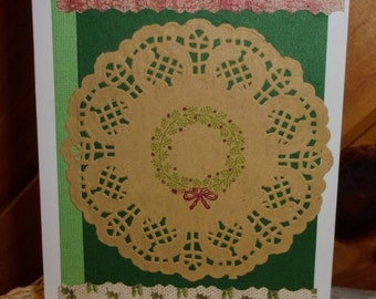 Wreath Christmas Card, Doily Card, Green Christmas Card, Holly Card, Merry Christmas, Stamped Card, Vintage Style, ArtFromTheCabin