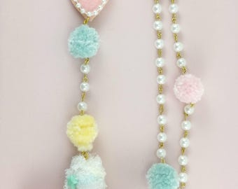 Rosary. Cross, Fairy kei Rosary-Cult Party Kei-lolita-Fairy Kei necklaces-Gift For Her-Pastel-Harajuku-Hime-Kawaii