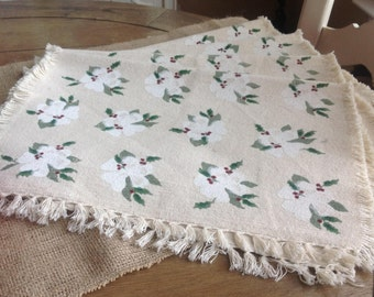 """Set of 4 Christmas Placemats in a Light Beige with White Flowers and Holly Berries 13"""" by 19"""""""