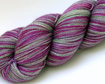 "Kettle Dyed Lace Yarn, Baby Alpaca, Silk, and Cashmere Lace Weight, in ""Hellebore"""