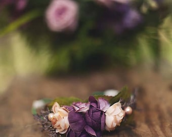 Newborn-Baby  Purple Rose Crown Wreath Head Adjustable Photography Photo Prop