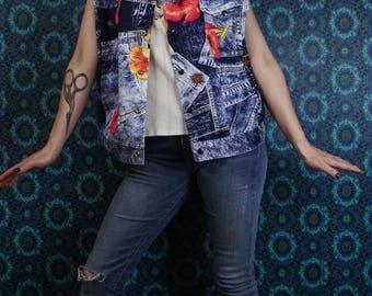 90's Jams World Denim Jacket Vest, Varsity Surf Line, Jeans Print Honolulu, Men's Size Large