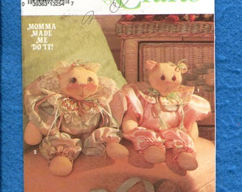 Simplicity 8102 Chubby Kitty & Bear with Their Own Jumpsuits UNCUT
