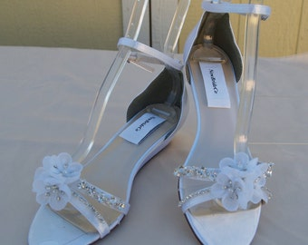"Bling Wedding Shoes low Wedge 1"" inch heel crystals,Short Heel, Prom Shoes, White Ivory Satin Sandal, Open toes low heel, Old Hollywood,Deco"