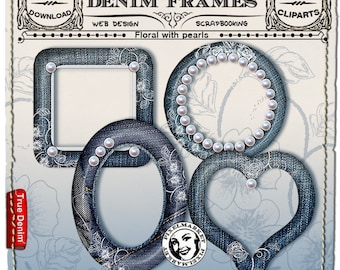 DENIM Frame ClipArts Transparent Background Printable Download for Photographer Blog Scrapbooking  blue jeans Picture Frame with pearls n226