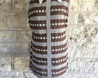 Sale 70's Mod Dress Brown Shift Dress Small Scooter Dress Mini Dress Mod Shift Tunic Small Dress 70s Vintage Dress