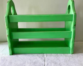 Vintage Green Painted Wood Magazine Rack