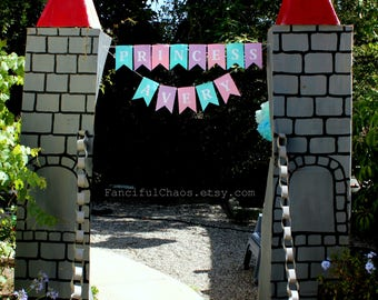 Princess Custom Name Bunt Banner Garland- Princess Birthday, Garden Tea Party Decorations