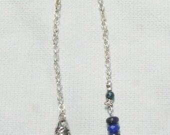 Handmade Lapis Gemstone and Pentagram Pendulum