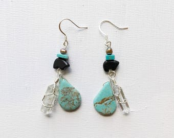 Turquoise, crystal and bear totem earrings