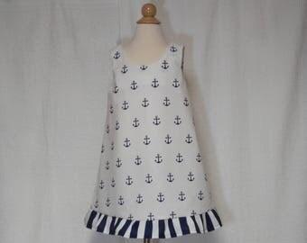 Anchor A-line dress,nautical kids dress,beach dress,summer dress,kids summer dress,kids fashion,kids a- line dress