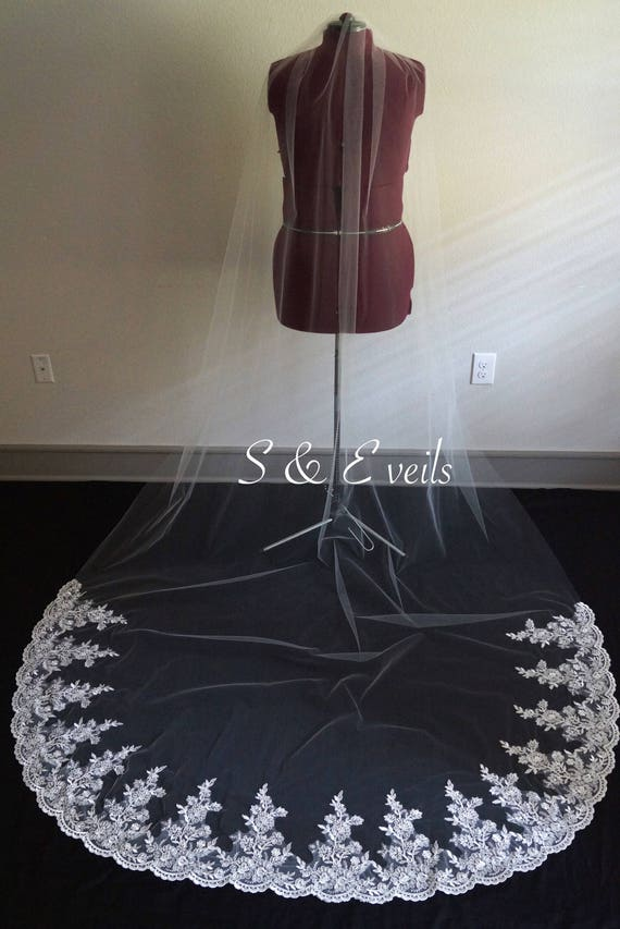 LACE Wedding Veil with Partial Lace | chapel,ivory color,  cathedral veil, veils with gorgeous Lace