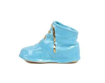 Vintage Blue Porcelain Bootie Baby Shoe Planter Art Pottery Vase Nursery Decor Childs Room Baby Shower