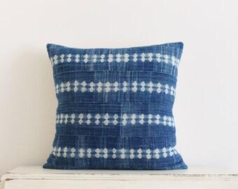 Vintage indigo shibori African mudcloth pillow cushion cover