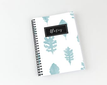 Writing journal, soft cover, book, blank spiral notebook, sketchbook, paper for notes, custom - modern leaf watercolor pattern