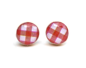 patriotic studs 4th july red gingham studs summer outdoors post earrings red earrings wood earrings wood earrings spring jewelry for her